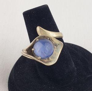 Vintage sterling ring with blue gem